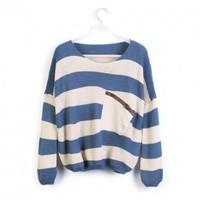 Blue Stripes Loose Sweater with Pocket - Designer Shoes|Bqueenshoes.com