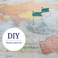 DIY Travel Map Kit - World Map No. 1