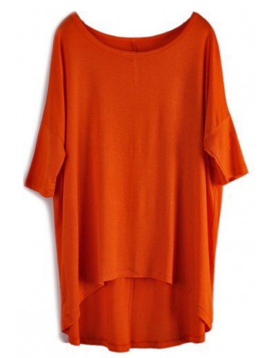 Asymmetrical Large Size Loose Women Latest Short Sleeve Orange Casual Cotton T-Shirt One Size@WH0016o $17.69 only in eFexcity.com.