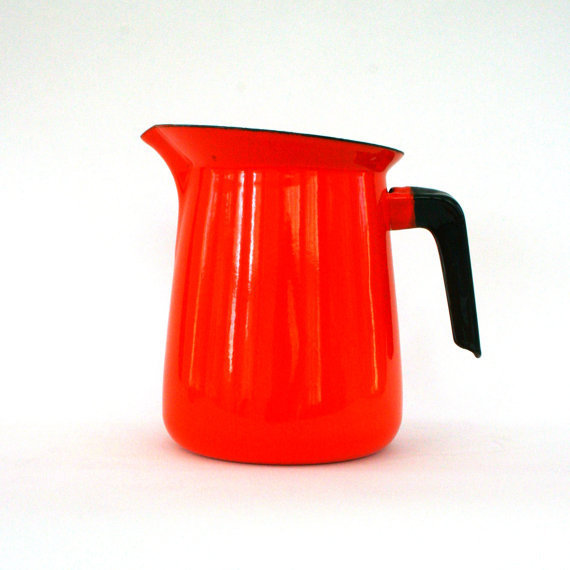 Vintage Orange Pitcher Enamel Coffee Pot by rhapsodyattic on Etsy
