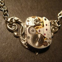 Steampunk Neo Victorian Vintage Watch Movement Necklace on Ornate Setting (576)