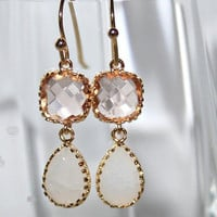Peach and Crackle White Opal Teardrop and Gold dangle Earrings, White Opal Peach bezel set double Drop Earrings - Bridal