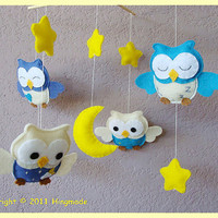 Decorative Nursery Mobile Forest friends Baby Owls in by hingmade