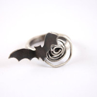 Sterling Silver Bat Ring with Spiral- Dark Beauty Jewelry-Noir-Gothic Jewelry- Eccentric-Halloween Ring- Halloween Inspired