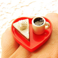 Kawaii Food Ring Coffee Cake Heart by SouZouCreations on Etsy