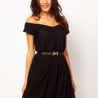 ASOS Lace & Mesh Dress With Off Shoulder at asos.com