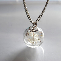 Dandelion Necklace Make A Wish 15 Glass Bead Orb Silver Necklace Botanical  Globe Beadwork