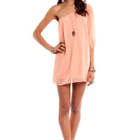 One Shoulder Chiffon Mini Dress $37