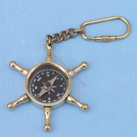 Wheel compass key chain  - Keychains -  Wooden Ship Models, Nautical Decor &amp; Gifts - GoNautical