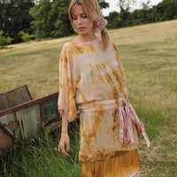 Tie-Dyed Georgette Dress with Ribbons