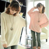 New Ladies Batwing Round Neck Knitted Pullover Jumper Casual Loose Long Sweater