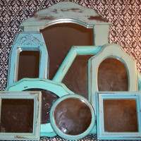 8 Vintage Beach Color Wall Mirrors &amp; 1 Small Ornate Frame