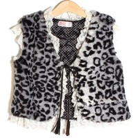 smilekids | Girls Faux Fur Quilt Lined Black Animal Print Lace Vest - 2 to 10 years Available | Online Store Powered by Storenvy