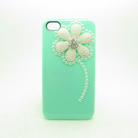 Green case Crystal Beads flower  Hard Case Cover for iPhone 4 Case, iPhone 4s Case, iPhone 4 Hard Case, iPhone Case IP19