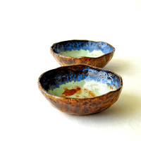 Pottery bowls - tri-color blue green and brown wabi sabi ceramic dishes (Set of 2)