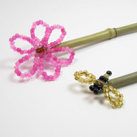 Bee and Flower Beaded Garden Stakes, Bamboo Plant Sticks