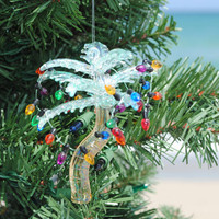 Glass Palm Tree With Lights Ornament | OceanStyles.com