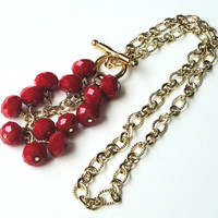 Red Velvet Faceted Crystal Rondelles Dangle Necklace