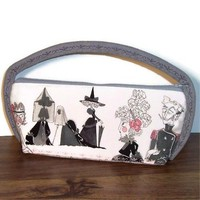 Clutch Purse Ghastlie Bag Handmade Pink Gray White Evil Eyes Witches