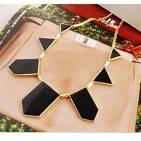 Black & Gold Tone Statement Necklace