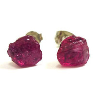 Raw Druzy Gorgeous Red Ruby Gemstone Studs by AstralEYE on Etsy