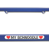 My Schnoodle Love with Hearts Metal License Plate Frame
