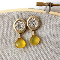 NEW post gold earrings - lovely post with yellow chalcedony