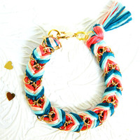 Peach Mint Tea - Neon Coral, Peachy Keen, Aqua Mint, &  Rich Turquoise - Chevron Braided Modern Friendship Bracelet - Gold Chain