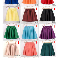 2709Women Retro high waist pleated double-layer chiffon Mini Short Pompon skirt