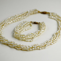 Rice Pearl Necklace 6 Strand Bracelet SET Vintage Ivory