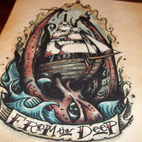 "Kraken Octopus ""From the Deep"" Traditional Maritime Tattoo Art Print 7x5  By Agorables Lord of the Undead Ruler of Evil Monsters"