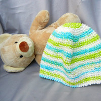 Cotton Crochet Hat White Turquoise and Green Stripe