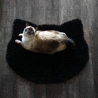 Fluffy black carpet - cat head shape