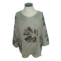 Gozzip Olive Tunic With Large Black Print