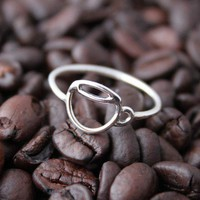 Sterling Coffee Cup ring - Custom made for you - Handmade by TLA Designs