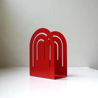 Mid Century Mod Red Napkin / Letter Holder Metal Mid Century