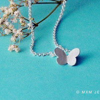 Tiny Butterfly Necklace by mxmjewelry on Etsy