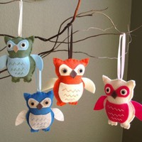 Adopt a Friendly Owl or Tree  Felt Plush Softie or by PinkPerch
