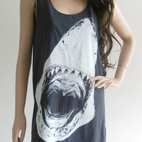 Shark Animal Style Shark Shirt Shark Tank Top Jaws shirt Teens Girl Women T-Shirt Animal Shirt Black Tunic Screen Print Size M
