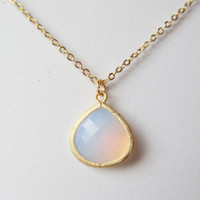 Violet Opal Necklace-Small flat cable chain double strand necklace with a violet opal gold faceted teardrop. Violet Opal Necklace.