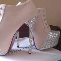Glam blinged up shoe boots with extra high stiletto heels