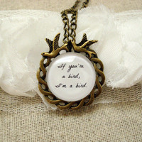 The Notebook Inspired Bird Quote Brass Necklace