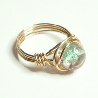 Pink Green Crackle and Gold Wire Wrapped Ring