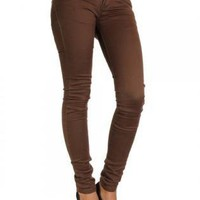 Brown Skinny Jeans with 2 Button Front & Gold Stud Belt