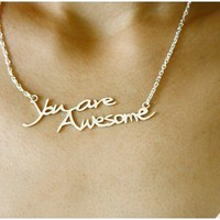 $92 You are awesome necklace  Feel good series by yellowgoat on Etsy