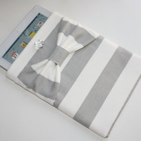 iPad Sleeve / Case - Gray and White Stripe with Bow - Padded