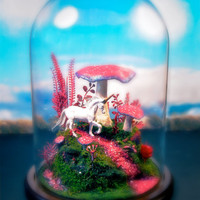 Magical Mushroom Unicorn Garden - Fantasy Forest Terrarium Diorama in Glass Dome