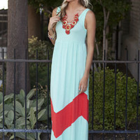 Pre Sale MVB Mint and Coral Color Block Chevron Maxi Dress