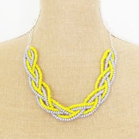 Braided Necklace Yellow and Gray Glass Beads on Hamilton Silver Chain - Wedding, Bridesmaid, Bridal, Preppy Grey and Yellow Statement
