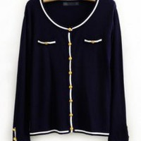 Navy Round Neck Knit Cardigan - Designer Shoes|Bqueenshoes.com